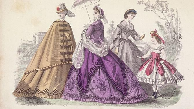 Crinoline Dresses. Women fashion of 18-19 centuries in France and England