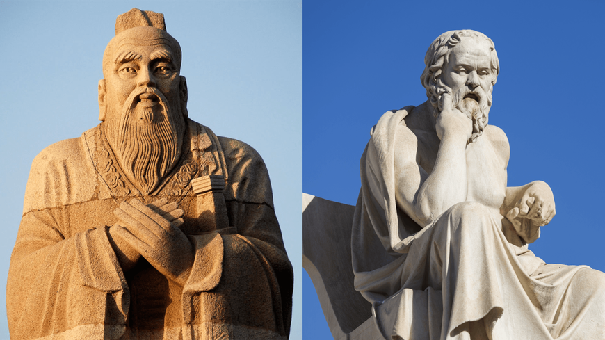 The monuments to Socrates and Confucius large